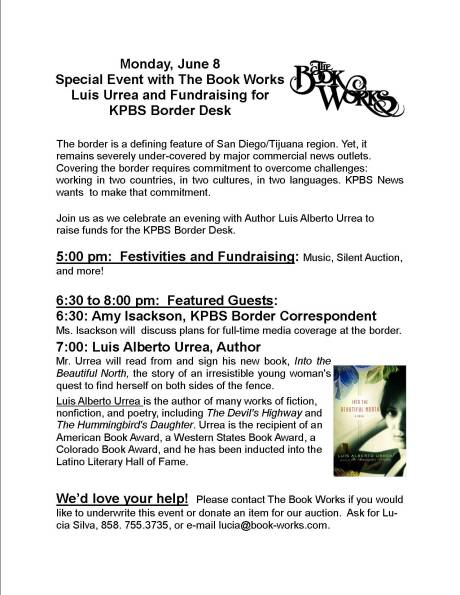 Monday June 8 Author Event with Luis Urrea and Benefit for KPBS Border Desk